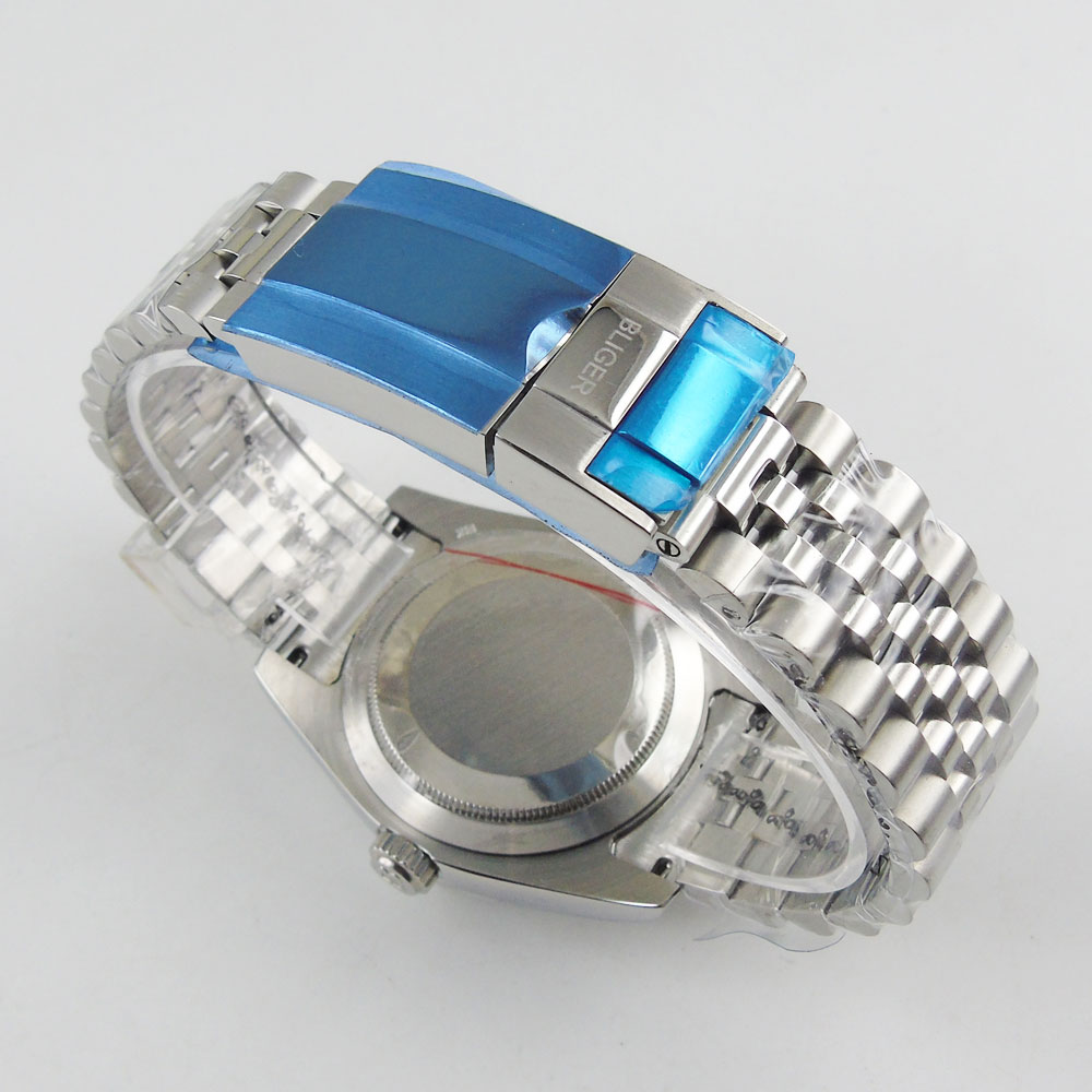 BLIGER High Quality Stainless Steel Jubilee Watch Bracelet with BLIGER logo Deployment Clasp Fit 40mm Watch