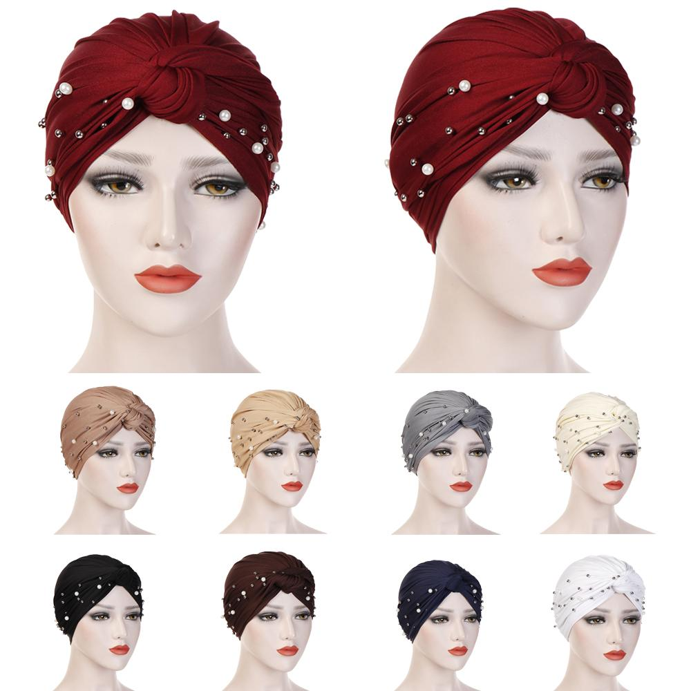 New Muslim Women Turban Cross Pearl Beads Hat Cancer Chemo Beanies Cap Headwear Headwrap Hair Loss Cover Bonnet India Head Scarf