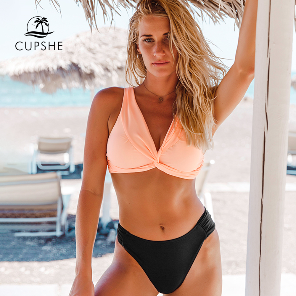 CUPSHE Pink And Black Twist-Front Bikini Sets Sexy Padded Tank Top Swimsuit Two Pieces Swimwear Women 2019 Beach Bathing Suits