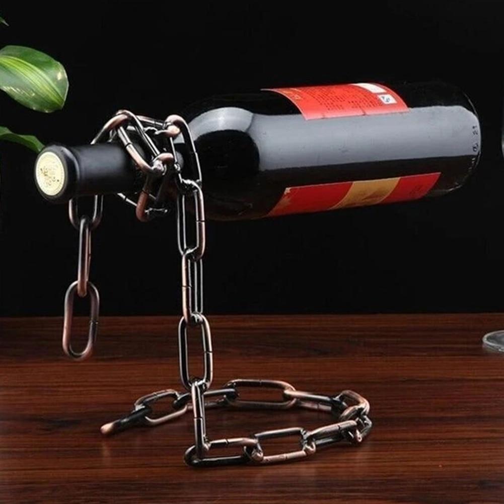 Retro Metal Wine Glass Shelf European Hanging Suspension Chain Magical Rack Wine Glass Holder Bar Stand Bracket