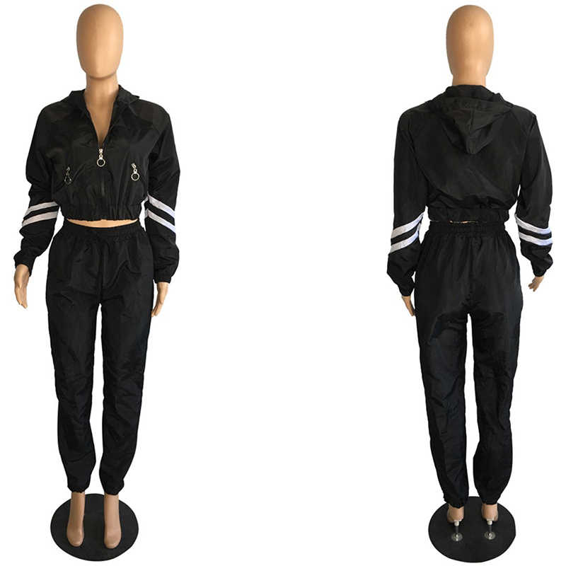 2 TWEE DELIGE SET Crop Top Lange Mouw Gestreepte Trainingspak Vrouwen Jas RITS Hoge Taille Sportief Zweetkostuums Safari Outfit plus Size