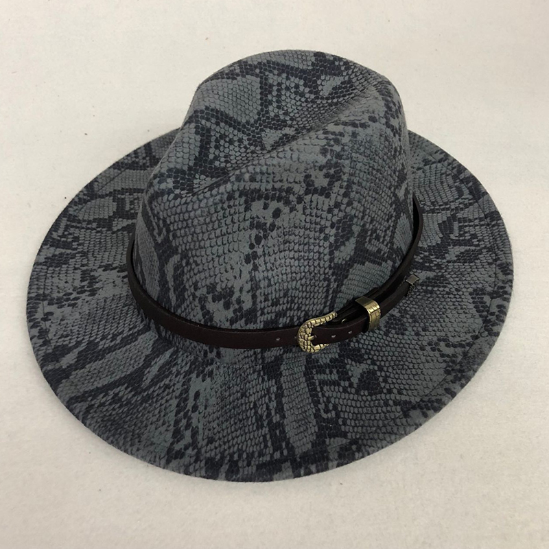 LVTZJ Winter Autumn Snake skin Imitation Woolen Women Men Ladies Fedoras Top Jazz Hat European American Round Caps Bowler Hats