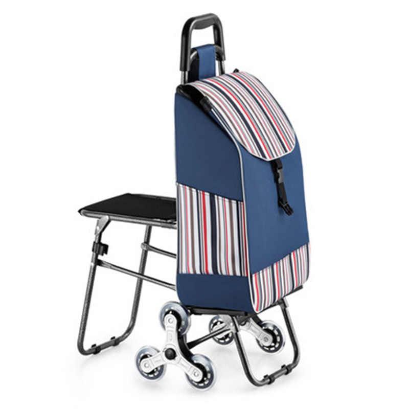 35L درج سلم عربة التسوق المسنين سلة تسوق أكياس التسوق المنزلية عربة عربة المحمولة طوي ثلاث عجلات عربة
