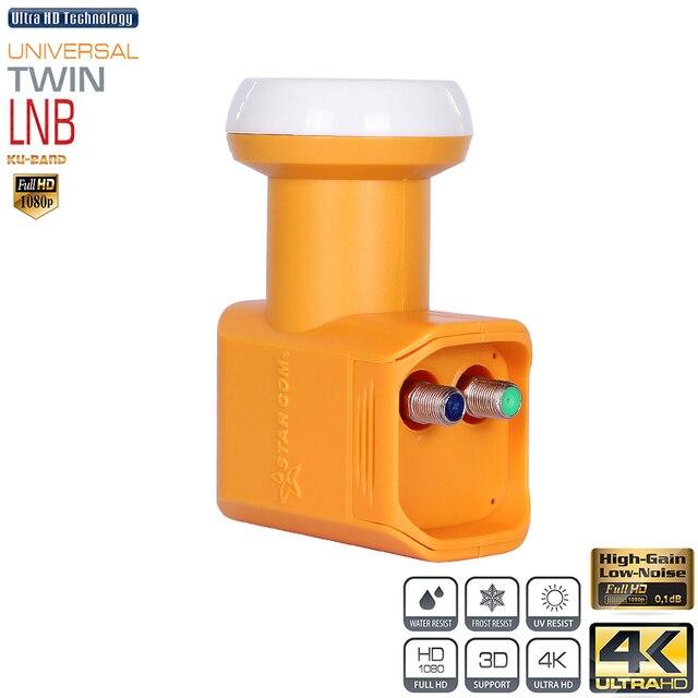 Starcom Универсальный LNB DVB S/S2 с высоким коэффициентом усиления, низкий уровень шума, 0,1 дБ, ku диапазон, двойная LNB тарелка, TV HD ku диапазон LNBF для спутникового приемника