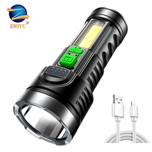 8000LM Powerful USB Rechargeable Flashlight 4 Modes LED Torch with Built-in 18650 Battery Tactical Flashlight Waterproof Torch