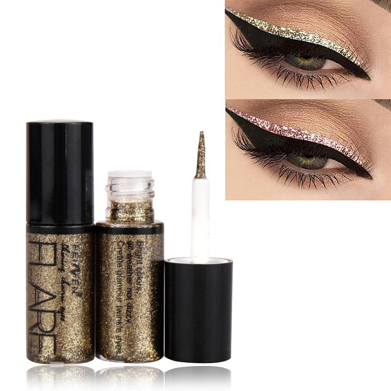 New Professional Shiny Eye Liners Cosmetics For Women Pigment Silver Rose Gold Color Liquid Glitter Eyeliner Makeup Beauty Tools