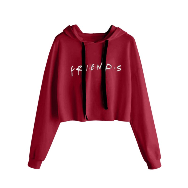 Fashion Letter Printed Hoodie Casual Crop Tops Short Pullover Women Long Sleeve Drawstring Hooded Rk