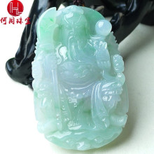 Hezhou jewelry!Myanmar natural jade!Exquisite hand carving!Guan gong pendant!Exquisite workmanship! 57.90g mozart the statue of guan gong enshrines the god the sword lifts guan gong guan yu guan er ye wu caishen lucky ornaments