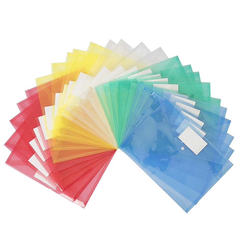 25 Pack Plastic Clear Document Folder With Label Pocket/Snap Button Closure, A4 Size, File Envelopes For School Home Work Office