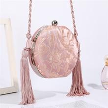 Luxy Moon Pink Handbag Round Clutch Wedding Bag for Women Luxury Embroidery Flower Pattern Purse Party Shoulder Bag ZD1463