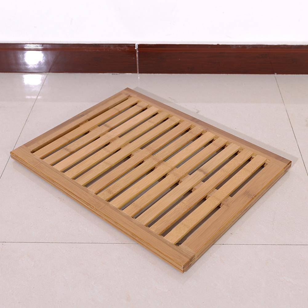 Bamboo Floor /& Bath Mat Wood Color