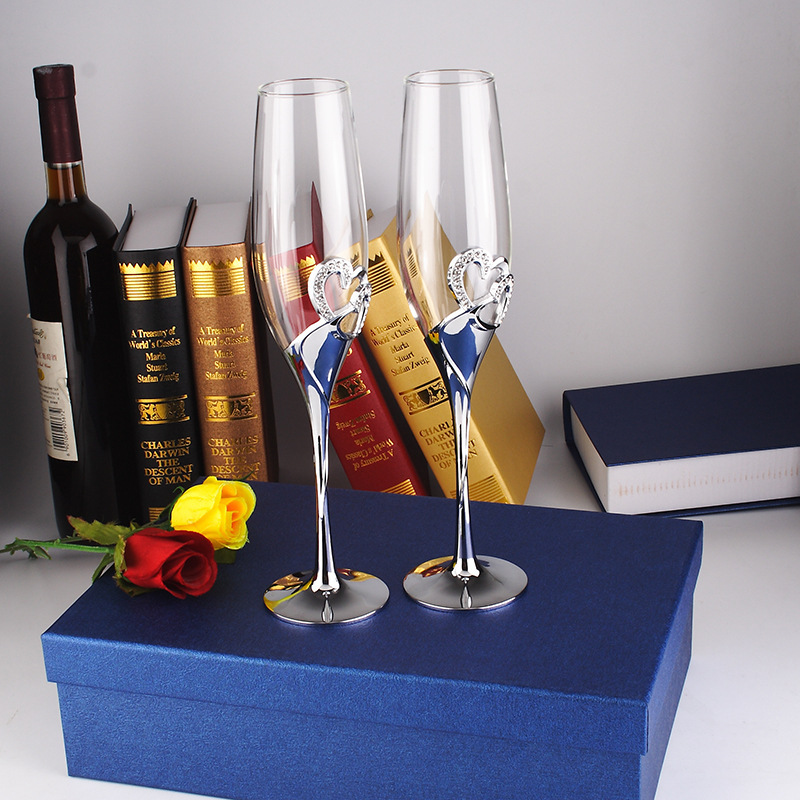 2 PCS /Set Crystal Wedding Toasting Champagne Flutes Glasses Drink Cup Party Marriage Wine Decoration Cups For Parties Gift Box 2