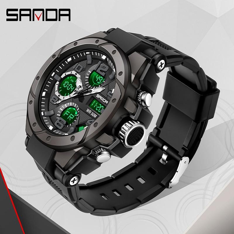 Sport hommes montre haut de gamme numérique pointeur horloge antichoc chronomètre rapport montres 50M étanche hommes montre SANDA heures temps 3
