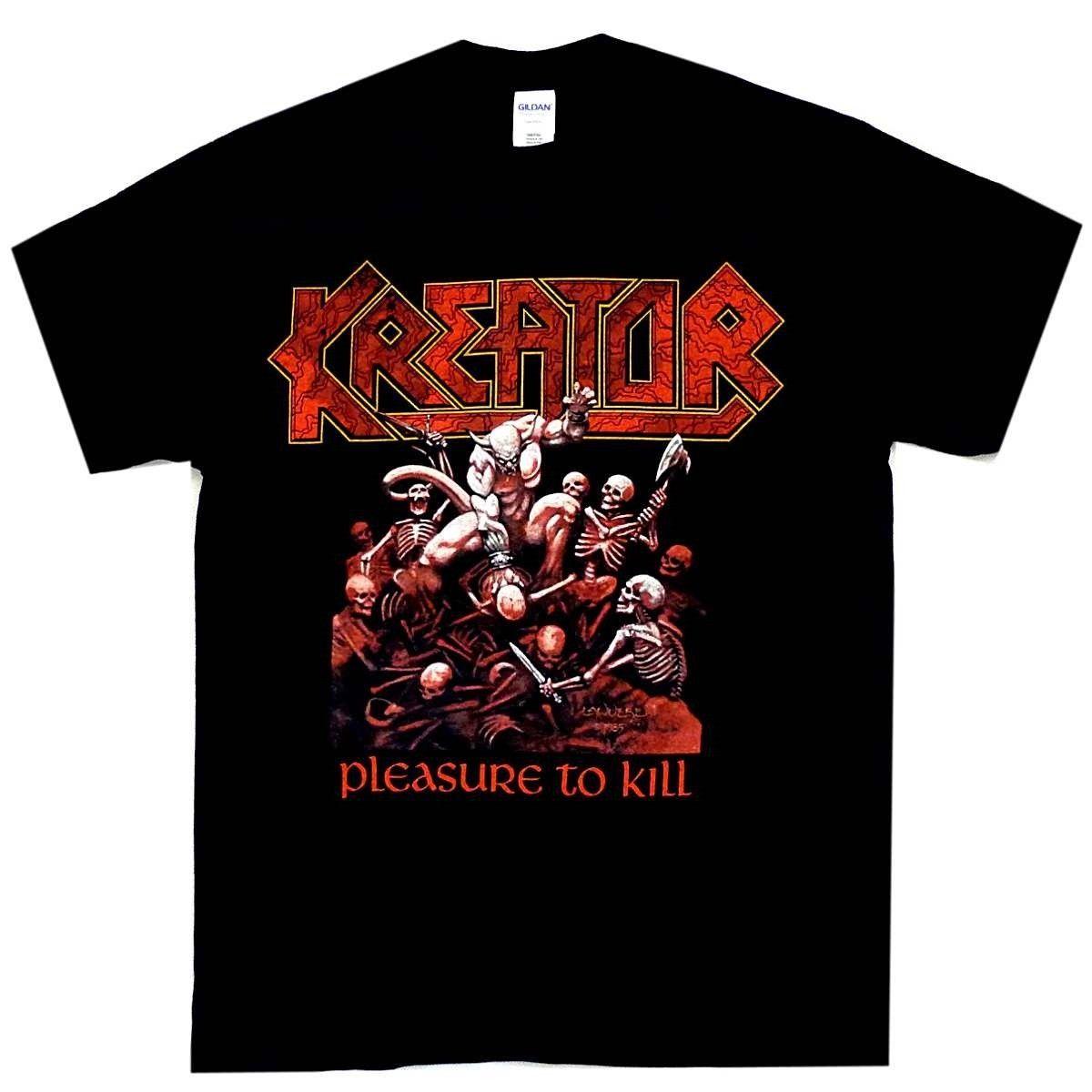 Kreator Pleasure To Kill Shirt S-3XL Official T-shirt Thrash Metal T New Sleeves Boy Cotton Men Plus Size Top Tee