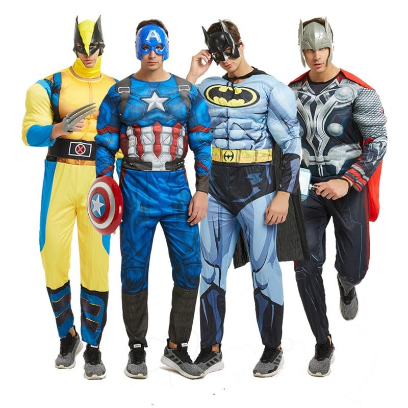 Halloween Superhero Adult Muscle Costume Wolverine Captain Bat Thunder Cosplay Superhero League Costume