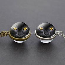Cat Eyes Photo Tibet Silver / Antique Bronze Chain Cabochon Pendant New Design Double Side Glass Ball Necklace for Women Men