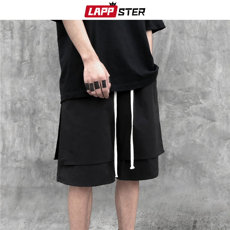 LAPPSTER Summer Fake Two Pieces Sweatshorts 2020 New Arrival Men Streetwear Hip Hop Cotton Shorts Harajuku Kpop Patchwork Jogger