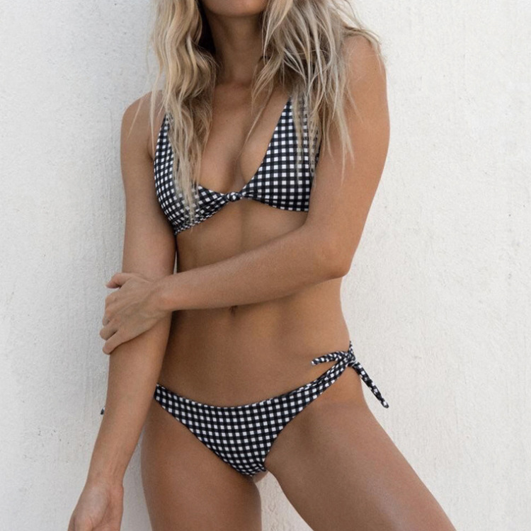 2019 Europe And America New Style Chest Button Down Knot Bikini Amazon AliExpress Hot Selling Plaid Bathing Suit Bikini