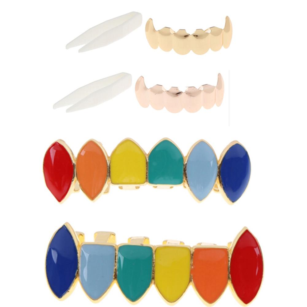 Novelty Hip Hop Gold Rainbow Teeth Grillz Top Bottom Colorful Grills Dental Halloween Vampire Teeth Toys