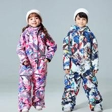 Зимний детский лыжный костюм-30 температурная детская зимняя куртка брендовая Водонепроницаемая теплая зимняя куртка для сноуборда для мальчиков и девочек