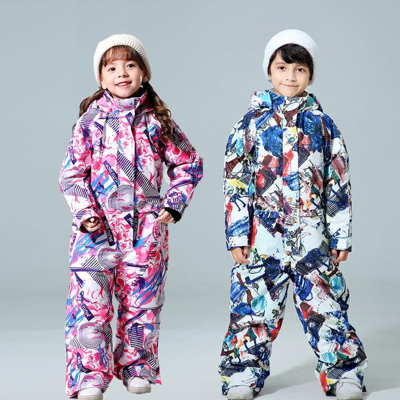 Новый зимний детский лыжный костюм-30 температурная детская зимняя куртка брендовая Водонепроницаемая теплая зимняя куртка для мальчиков и...