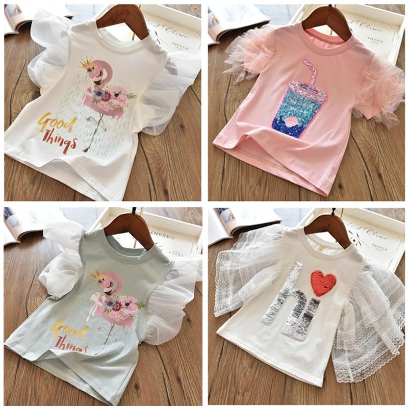 3-8Y Unicorn T Shirt Baby Girl Summer Clothes Camiseta Unicornio Tshirt Girls Tops Femme Kid Tee Enfant Birthday Party Clothing
