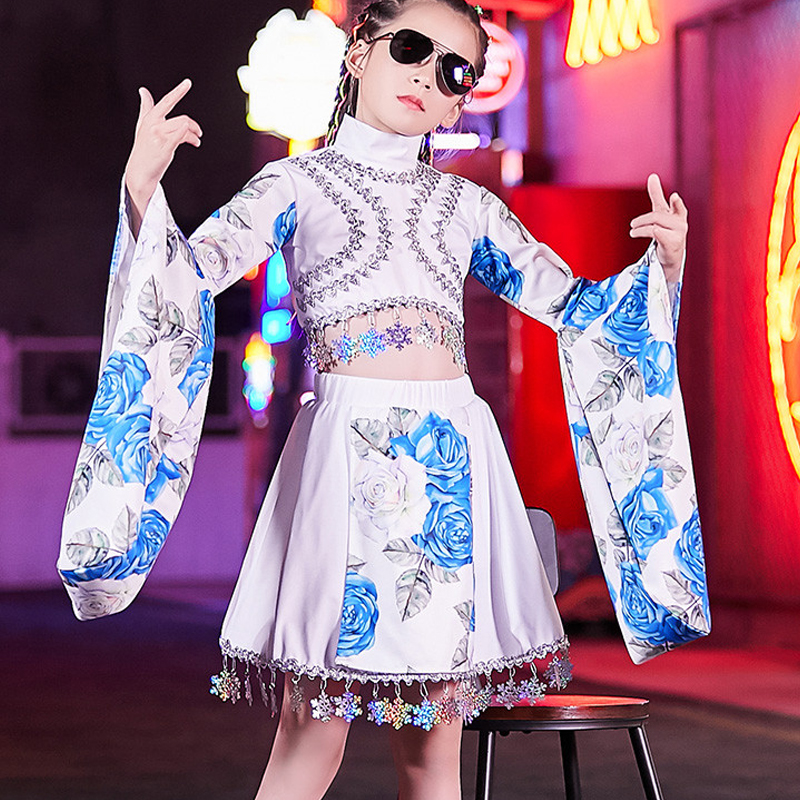 Autumn Girls Catwalk Show Clothes Chinese Style Children Jazz Dance Costumes Korean Version Hip Hop Street Dance Clothes DL4819