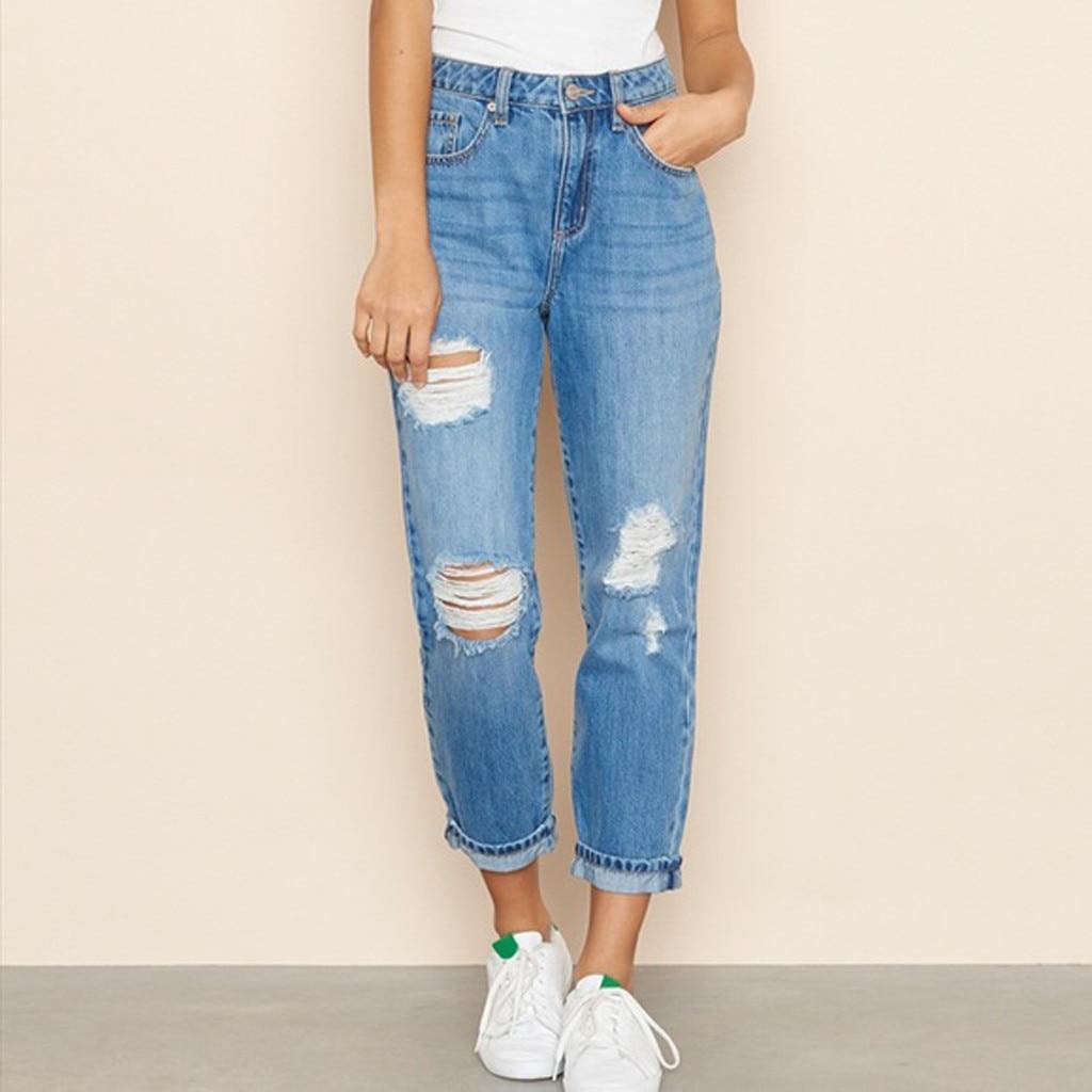 Casual Streetwear Jean Woman Mom Jeans Pants Boyfriend Jeans For Women With High Waist Ripped Ladies Blue Denim Jeans Plus Size