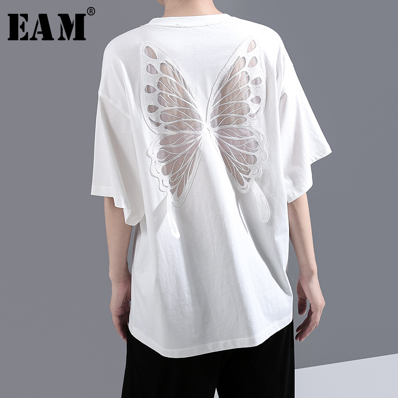 [EAM] Women White Back Hollow Out Temperament T-shirt New Round Neck Half Sleeve  Fashion Tide  Spring Summer 2020 1Y729 1