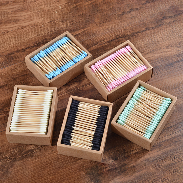 1000Pcs color mix Bamboo Cotton Double Head Adults Makeup Cotton Swab Microbrush Wood Sticks Nose Ears Cleaning Health Tools 1