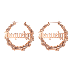 Image 4 - 45mm 90mm Custom Bamboo Hoop Earrings Customize Name Earrings Bamboo Style Personality Earrings With Statement Words Hiphop Sexy