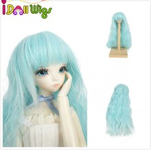 Hot sales synthetic blue to white ombre body wavy wig for 1/3 1/4 1/6  BJD doll