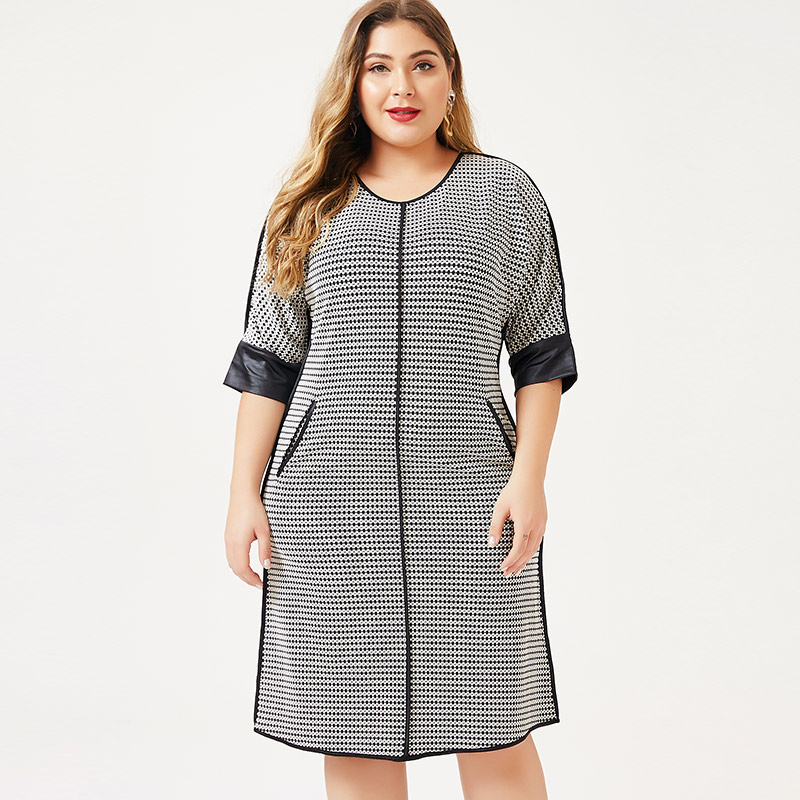 2020 Spring Womens Plus Size Dress  Houndstooth Fashion Ladies Femal Elegant Midi Dresses Woman Party Night