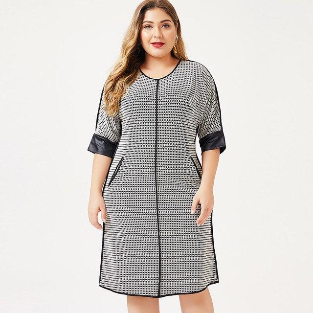 2020 herbst frauen Plus Größe kleid Houndstooth mode Damen femal elegante kleider frau party nacht 4XL 5XL 6XL