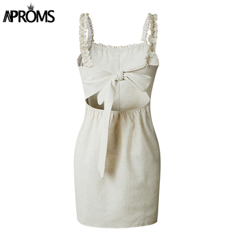 Aproms Sexy Backless Lace Up Cotton Dress Women Sundresses Summer 2020 Sleeveless Slim Bodycon Club Wear Dresses Robe Femme 4