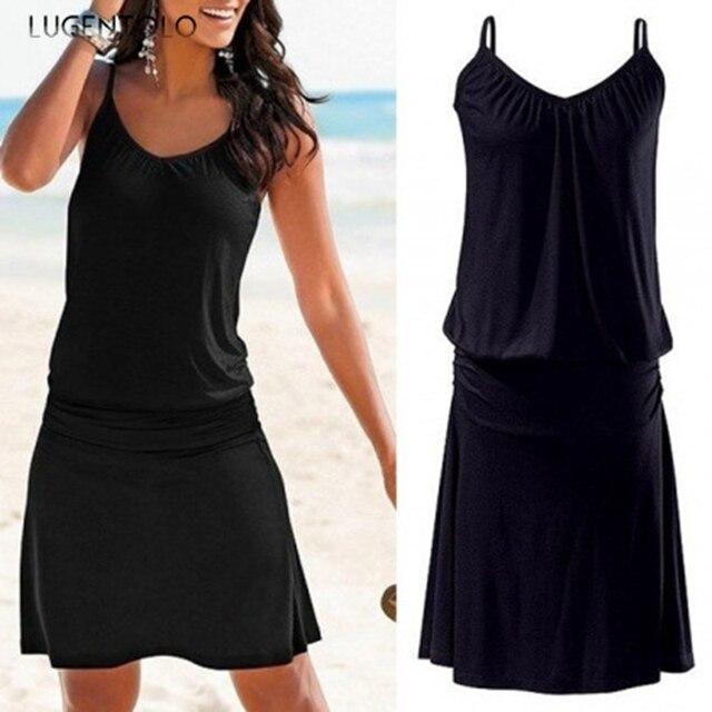 Lugentolo Women's Dress Summer Loose Printed Wavy Pattern Beach New Style Casual Sleeveless Sexy Female Short Dress 1