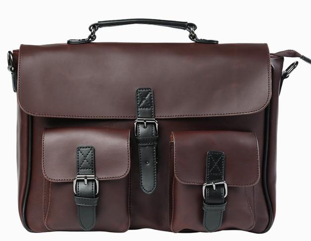 Vintage Men Multi Pocket Briefcase Leather Chic Shoulder Bag High Capacity Mens Business Trip Handbag Bolso Hombre DF356