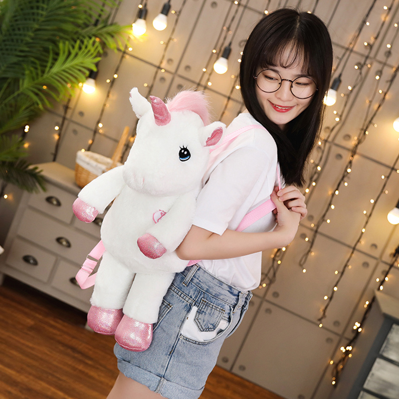 Hot New 50/60cm Kawaii Unicorn Plush Backpack Rainbow UnicornSoft Toy Plush Shoulder Bag Children Kids Girls Birthday Gift Doll