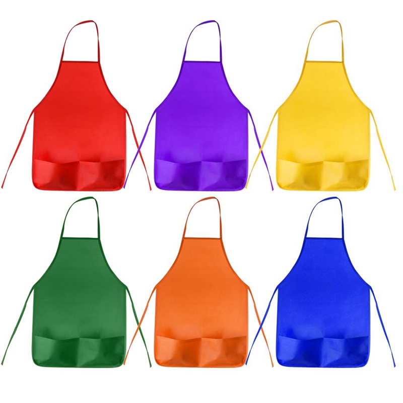 12 Pack 6 Color Kids Aprons Children Painting Aprons Kids Art Smocks With 2 Roomy Pockets For Kitchen And Classroom (Brushes Not