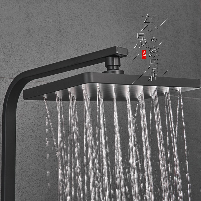 Черный медь горячая и холодная постоянная температура кнопка четыре шестерни ванная душ набор квадрат наддув