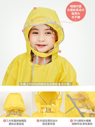 Girls Raincoat Kids School Boys Kindergarten Long Rain Poncho Rain Jacket Waterproof Yellow Long Rain Coat Capa De Chuva Gift 2