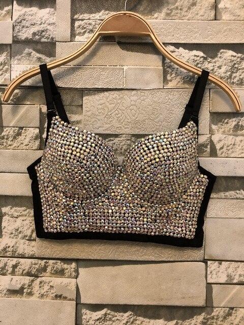 Tube Top Gorgeous Rhinestone Bead Bustier Pearls Diamond Push Up Night Club Sexy Bralette Women's Bra Cropped Top Plus Size