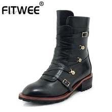 FITWEE Woman Ankle Boots Real Leather Plush Fur Warm Shoes Winter Fashion Short Ladies Footwear Size 33-40