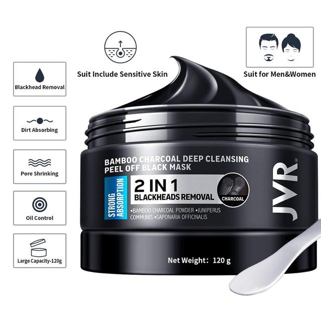 JVR Blackhead Mask for Men Bamboo Charcoal Deep Cleansing Purifying Peel Off Pore Strip Remove Acne Nose Black Mask For All Skin