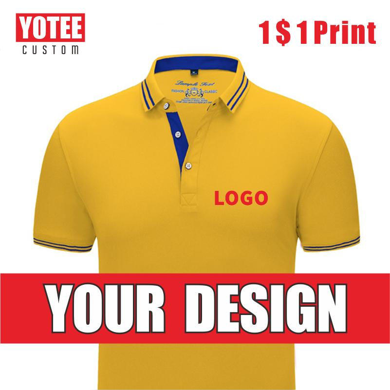 YOTEE Casual Business High Quality   POLO   Short Sleeve Personal Company Group LOGO Custom   POLO   Shirt Men and Women Custom Top