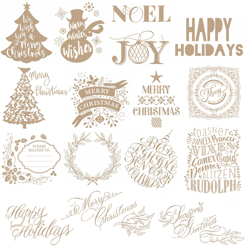 Christmas Tree Letter Hot Foil Plate Metal Cutting Dies Stencils For DIY Scrapbooking Album Embossing Cards Crafts Die Cut