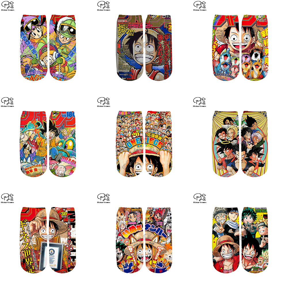 Men Women One Piece Dragon Ball Z Anime Socks Harajuku 3d Print Luffy Goku Ankle Sock Funny Sock Summer Spring Autumn Winter