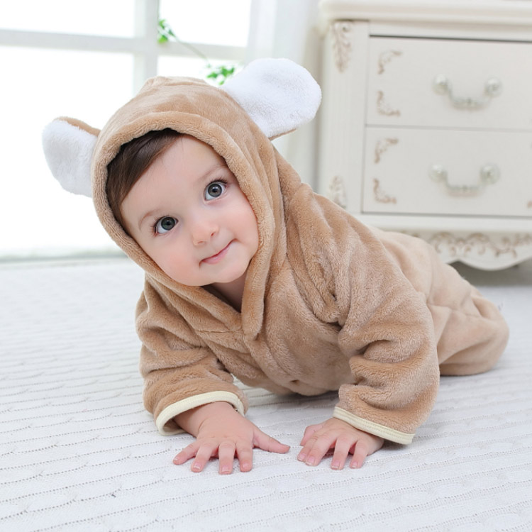 Autumn Winter Baby Clothes Flannel Baby Boys and Girls Clothes Cartoon Bear Ear Romper Jumpsuit Warm Newborn Infant Romper