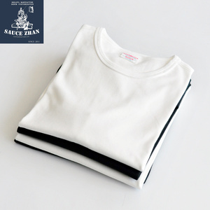 Image 3 - SauceZhan Thirty two Double yarn Vintage Thick Cotton T shirt Full Three Needles Reinforce T Shirt Men O Neck Casual Solid Tees