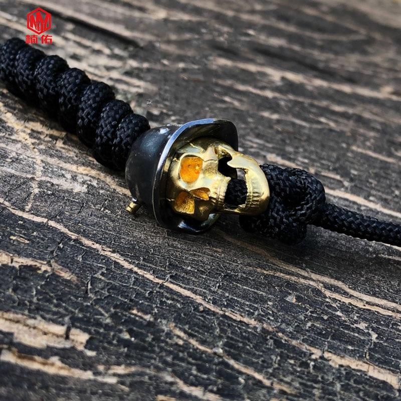 1 pièces 925 argent laiton crâne couteau perles à la main EDC parapluie corde couteau perles collier tête pendentif crâne peut être actif - 2